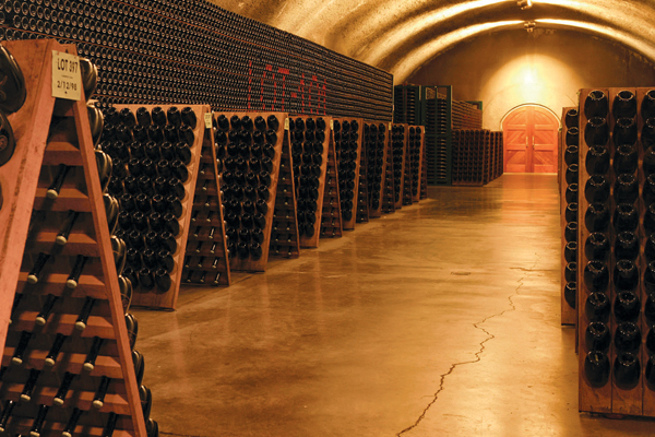 The patience-testing méthode champenoise process of aging is practiced in the caves