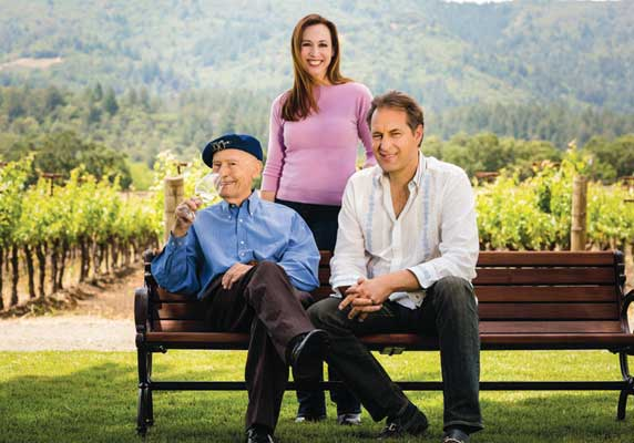 Mike Grgich with Vice President of Sales and Marketing Violet Grgich and Vice President of Vineyards and Production Ivo Jeramaz Guests.
